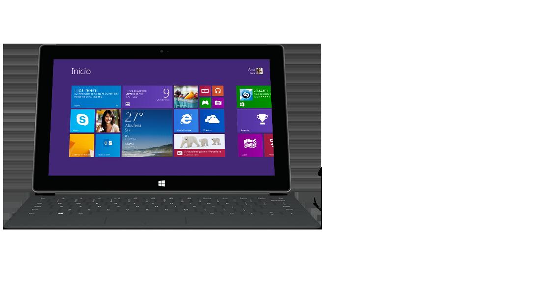 Vista frontal de um tablet Surface com uma Capa Tátil 2 retroiluminada.