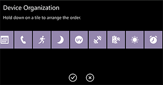 'Device organization screen in the Microsoft Health app' from the web at 'http://compass.surface.com/assets/0a/4a/0a4abd5d-1e18-4469-9f35-0423233ee455.png?n=arrange-tiles-325.png'