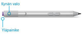 Valo näkyy kynänpidikkeen alapuolella, kun Surface-kynä on laiteparitilassa.
