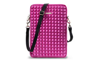 Rebecca Minkoff Pyramid-Studded Surface Sleeve. Available in pink and black.