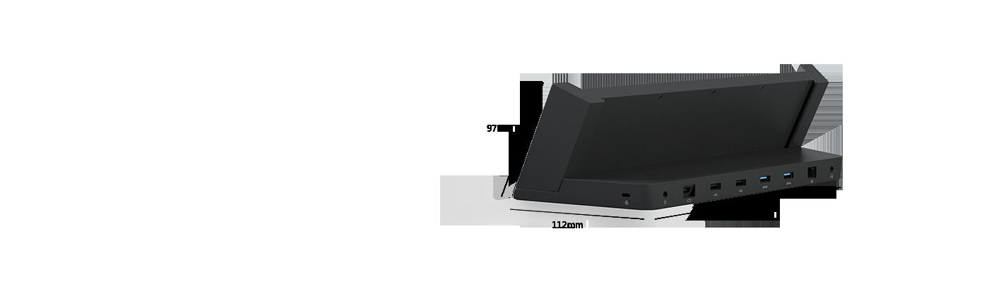 Surface-dockingstation set skråt bagfra, så USB- og videoudgangsportene vises.