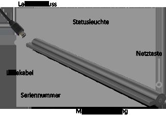 Hier sehen Sie, wo sich der Ladeanschluss, die Netztaste, die Statusleuchte, die Magnetverbindung und die Seriennummer des Drahtlosadapters für Surface-Cover befinden.