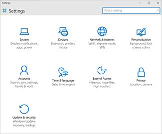 Menu Paramètres de Windows10