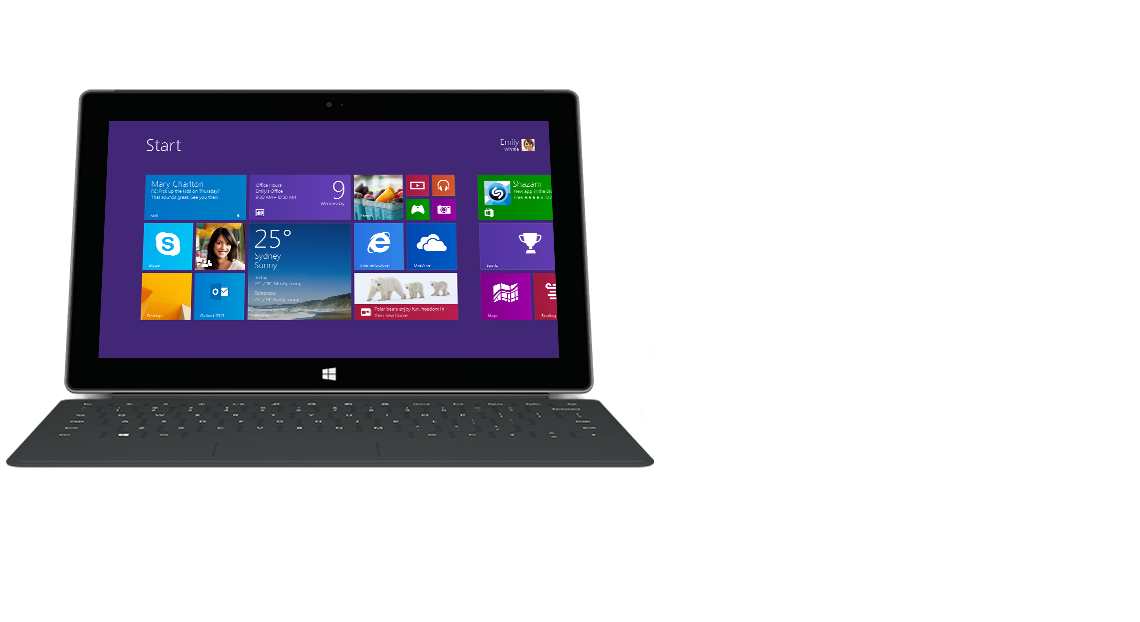 Front view of Surface tablet with backlit Touch Cover 2.