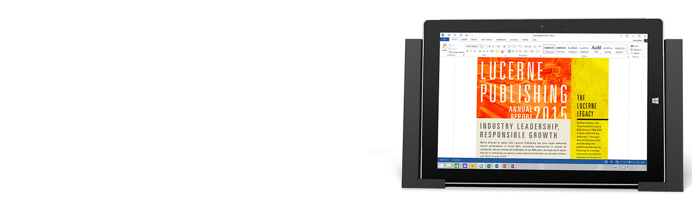 Angled front view of Surface Docking Station with Surface tablet in place.