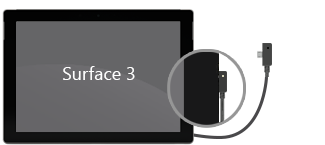 Voedingsconnector op Surface 3