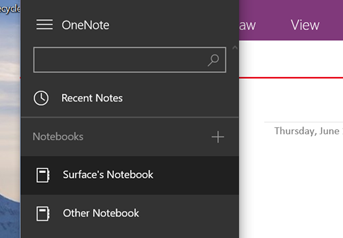 Find a section in OneNote