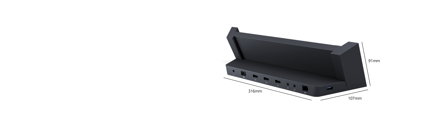 Angled rear view of Surface Docking Station, revealing U S B and video-out ports.