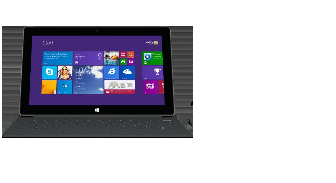 Surface-tablet med baggrundsbelyst Touch Cover 2 set forfra.