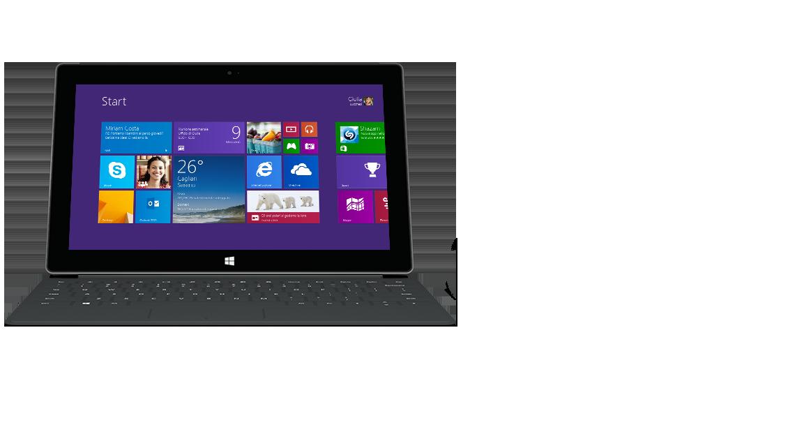 Vista anteriore del tablet Surface con Cover Touch 2 retroilluminata.
