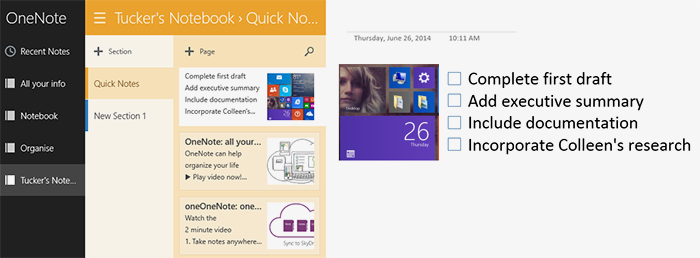 OneNote notebooks, sections, and pages