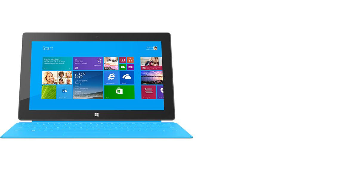 Front view of Surface tablet with Touch Cover clicked in.
