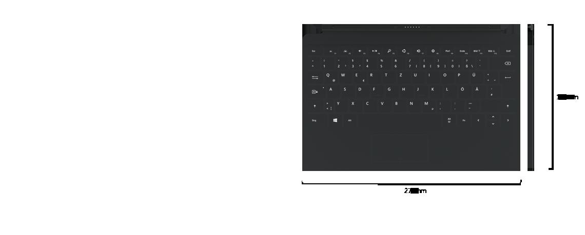 Draufsicht der Geräte nebeneinander sowie Seitenansicht auf ein Touch Cover 2. Als Abmessungen des Covers werden 187 mm Tiefe und 279 mm Breite angegeben.