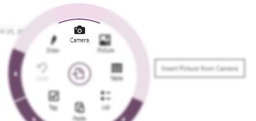 Appuyer sur Caméra dans le menu circulaire