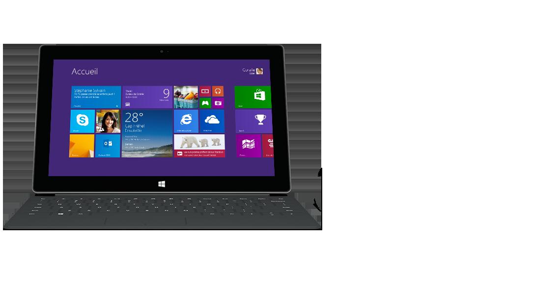 Vue avant de la tablette Surface avec clavier Touch Cover2 rétro-éclairé.