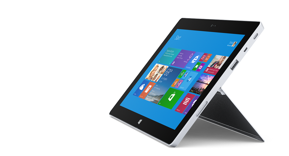 Surface 2 with dual-position kickstand fully reclined.