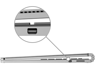 Mini DisplayPort op de Surface Book