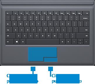 Tasti per il clic con i pulsanti destro e sinistro sul touchpad della cover di Surface