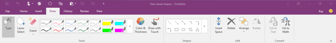 Ribbon in OneNote 2016