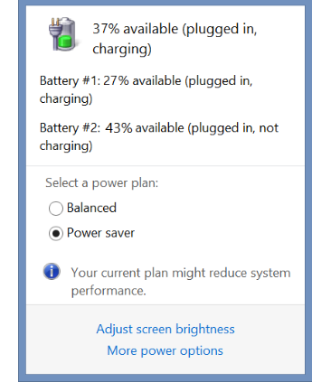Tap or click the battery icon in the desktop tray to see the charge on each battery.