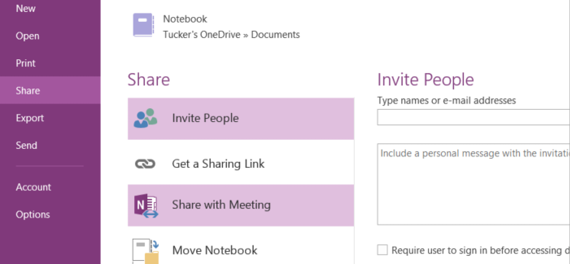 Invite people to your notebook, or share it with a meeting
