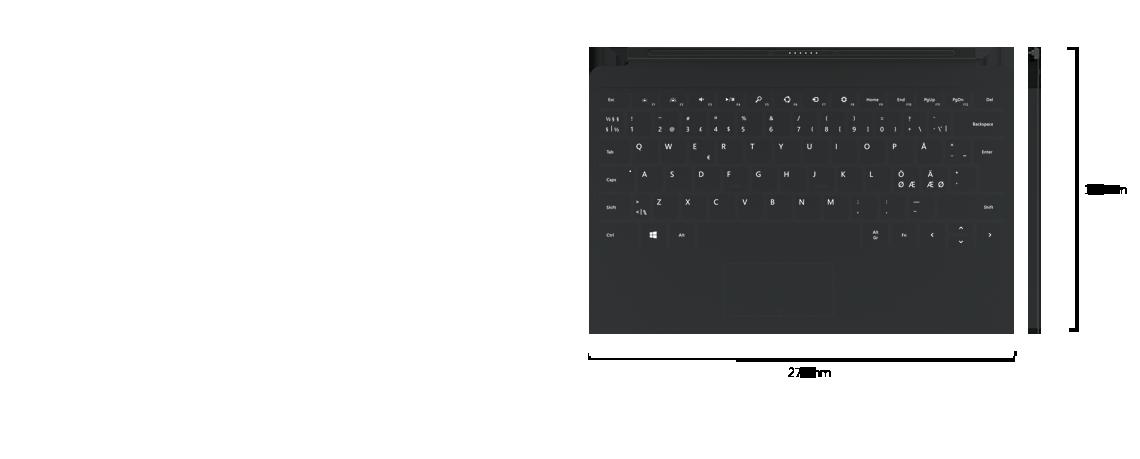 Visning ovenfra side-om-side og visning fra siden av Touch Cover 2. Mål viser omslaget som 187 mm dypt og 279 mm bredt.