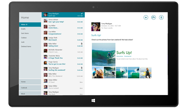Built-in Mail app on Surface