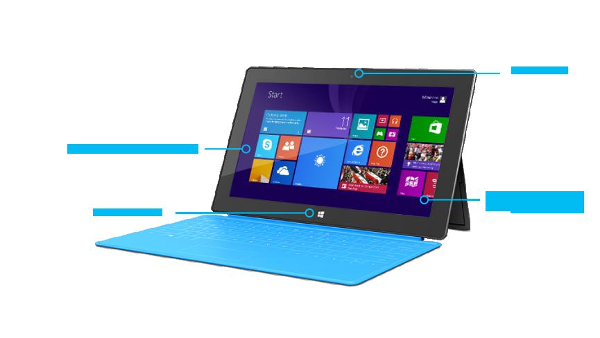 Features von Surface Pro, Ansicht von vorne