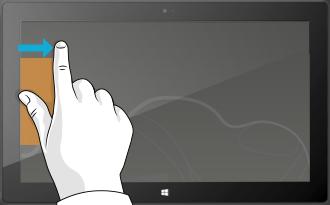 Vom linken Bildschirmrand nach innen wischen
