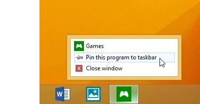 """Wählen Sie """"Dieses Programm an Taskleiste anheften"""" aus."""