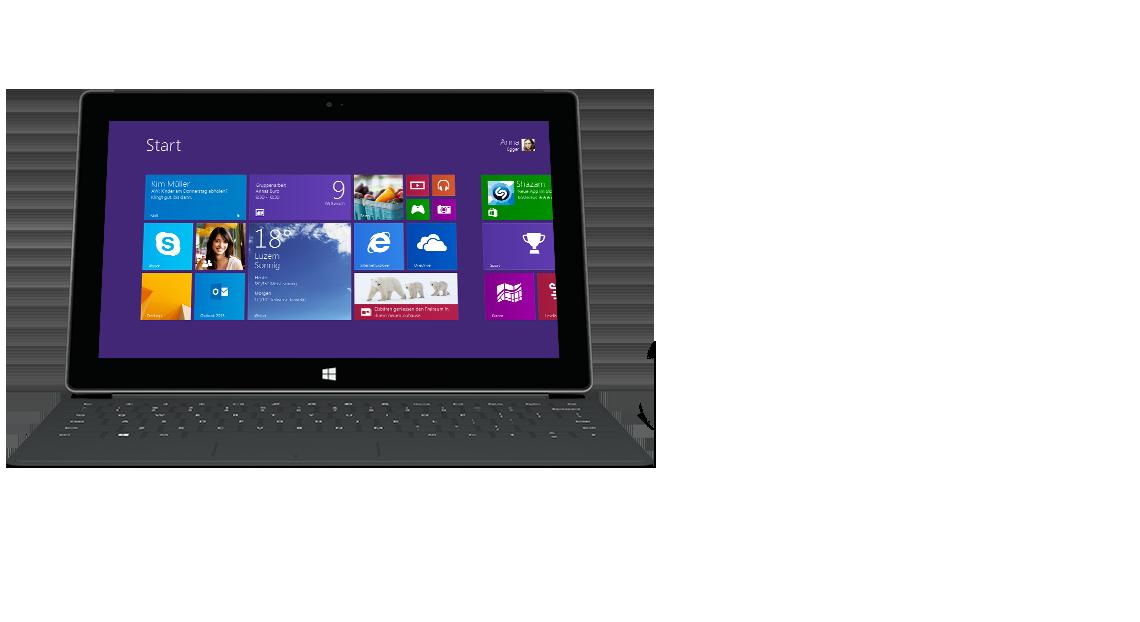 Vorderansicht des Surface-Tablets mit Touch Cover 2 mit Hintergrundbeleuchtung.