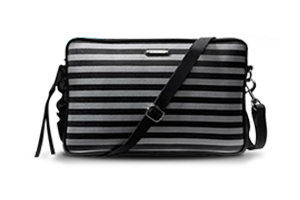 Rebecca Minkoff Canvas Stripe Surface Sleeve in a silver and black stripe pattern.