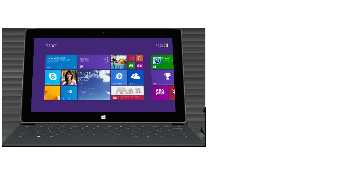 Surface-platta sedd framifrån med bakgrundsbelyst Touch Cover 2.