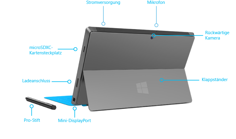 Features von Surface Pro, Ansicht von hinten