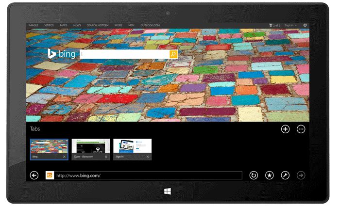 Moderne Internet Explorer 11 op Microsoft Surface