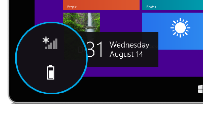 Battery icon on the lock screen.