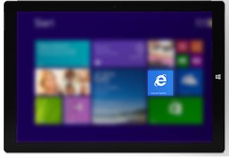 Riquadro di Internet Explorer nella schermata Start