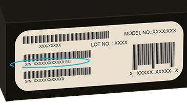 Serial number on the barcode label on the Surface packaging
