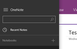 Use the search box in the left menu to search OneNote