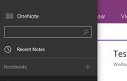 Brug søgefeltet i den venstre menu til at søge i OneNote.