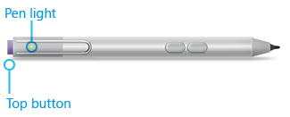 The light appears under the pen clip when Surface Pen is in pairing mode.