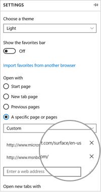 Microsoft Edge settings: remove a home page