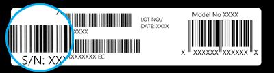 Abbildung der Seriennummer auf der Verpackung