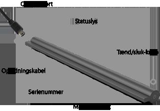 Her finder du opladerporten, tænd/sluk-knappen, statuslyset, det magnetiske stik og serienummeret på Wireless Adapter til Surface Covers.
