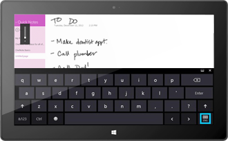 Note manuscrite dans l'application OneNote