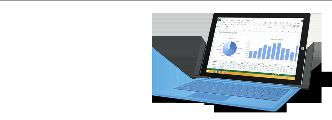 Surface-dockingstation med Surface-tablet set skråt forfra.