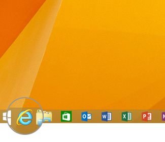 Internet Explorer icon on the taskbar
